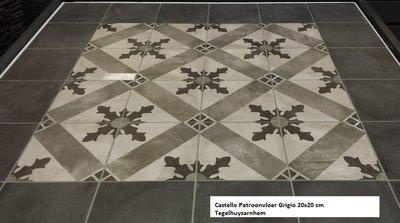 Patroontegel 20x20 cm Castello Grigio decor 2  artnr. 70092 Martello Home Collection