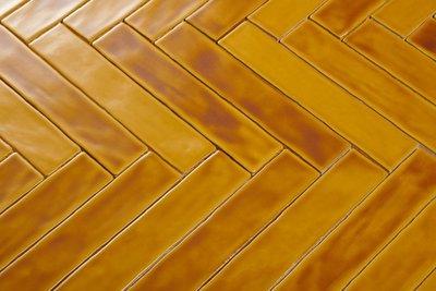 Wandtegel 5x25 cm Honey mix Handvorm  artn. 10111